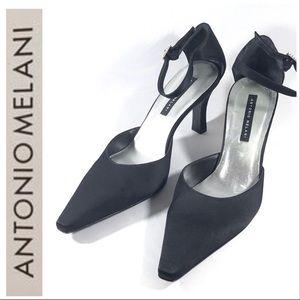 COPY - ANTONIO MELANI Pointy Satin Jewel Kitten Heels 9.5